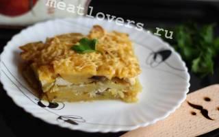 Картофельный гратен грибами и курицей