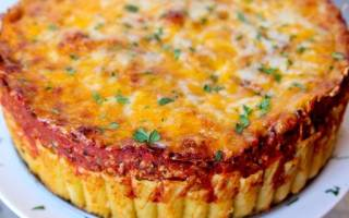 «Итальянский пирог из макарон-рожков» (ригатони)
