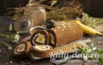 Шоколадный рулет с бананами
