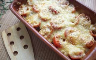 Кабачки, запеченные с грибочками и помидорами под сыром