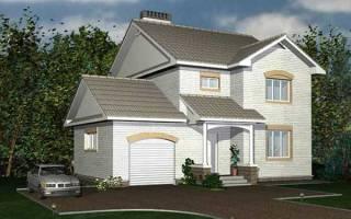Проект двухэтажного дома 11 на 9 метров, общей площадью 161 м2, из кирпича, c гаражом, террасой, котельной и кухней-столовой