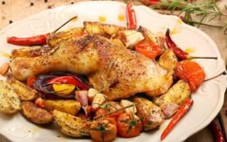 Курица, запеченная с овощами