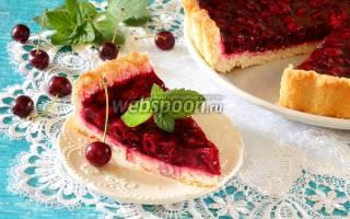 Вишневый пирог из творожного теста.