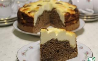 Мраморный творожно-кофейный пирог.