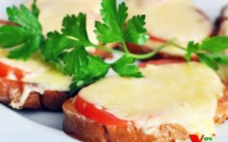 «Гренки с помидорами и сыром»
